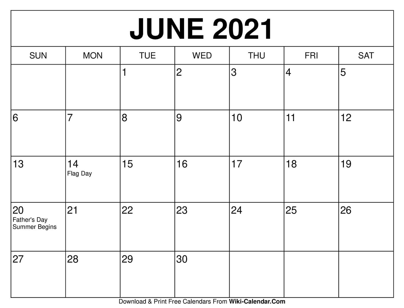 Free Printable June 2020 Calendars