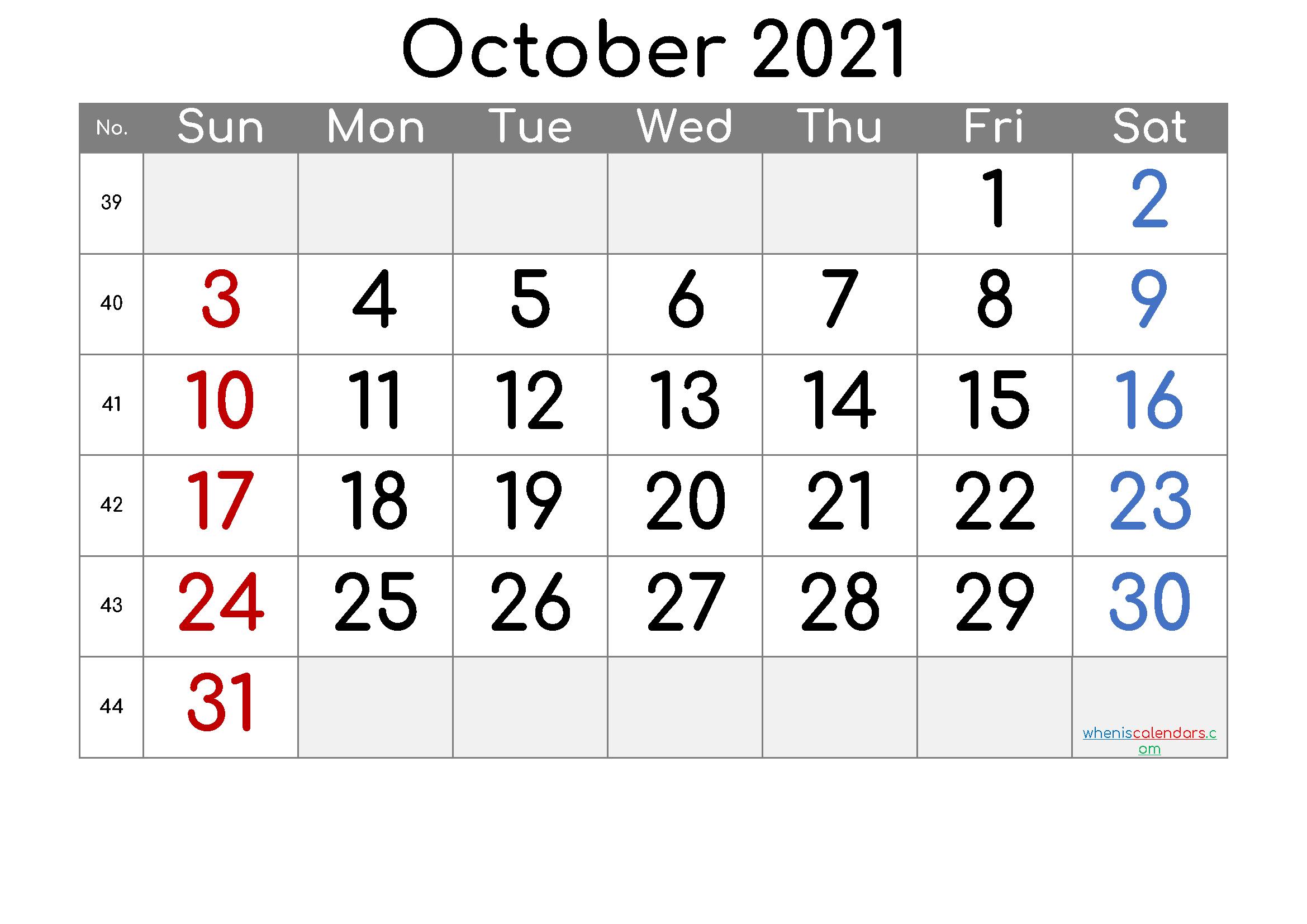 Free Printable October 2021 Calendar (Premium) In 2020