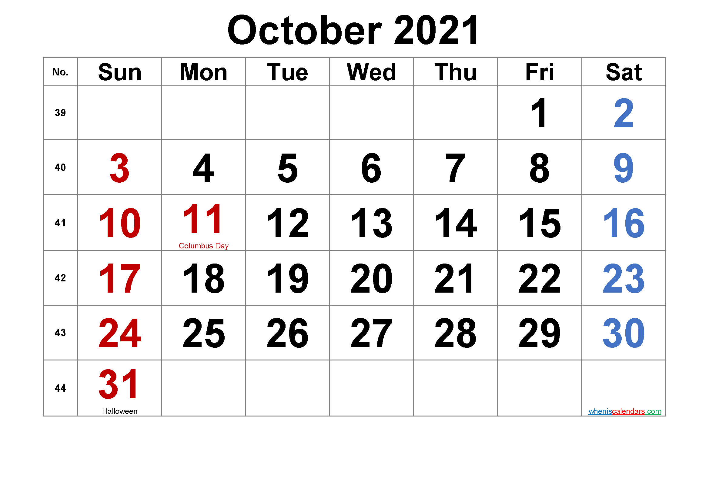 Free Printable October 2021 Calendar With Holidays-Template