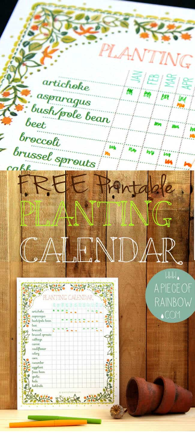 Free Printable Planting Calendar - A Piece Of Rainbow