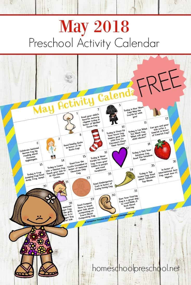 Free Printable Preschool Activity Calendar For May Fun