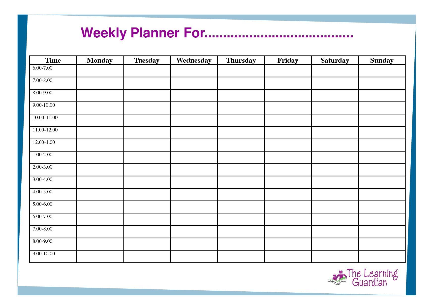 Free Printable Weekly Calendar Templates Weekly Planner For