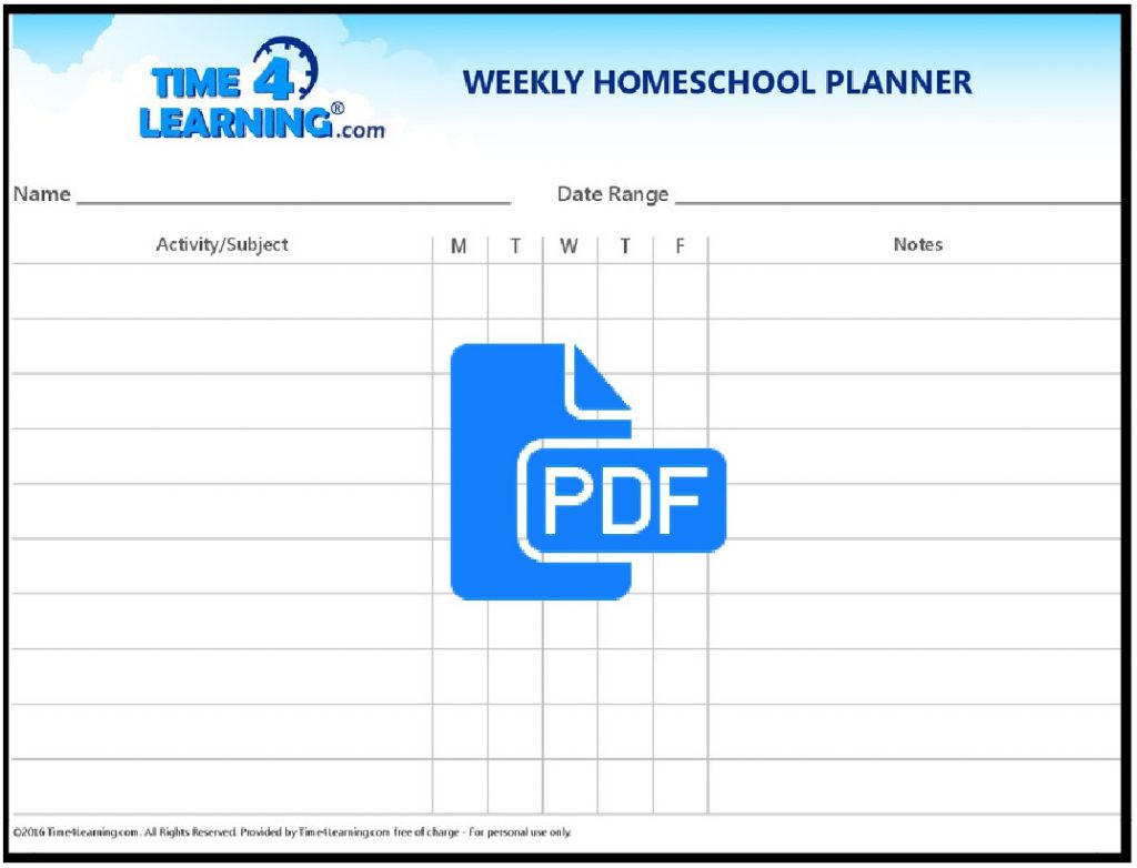Free Printable: Weekly Homeschool Planner | Time4Learning