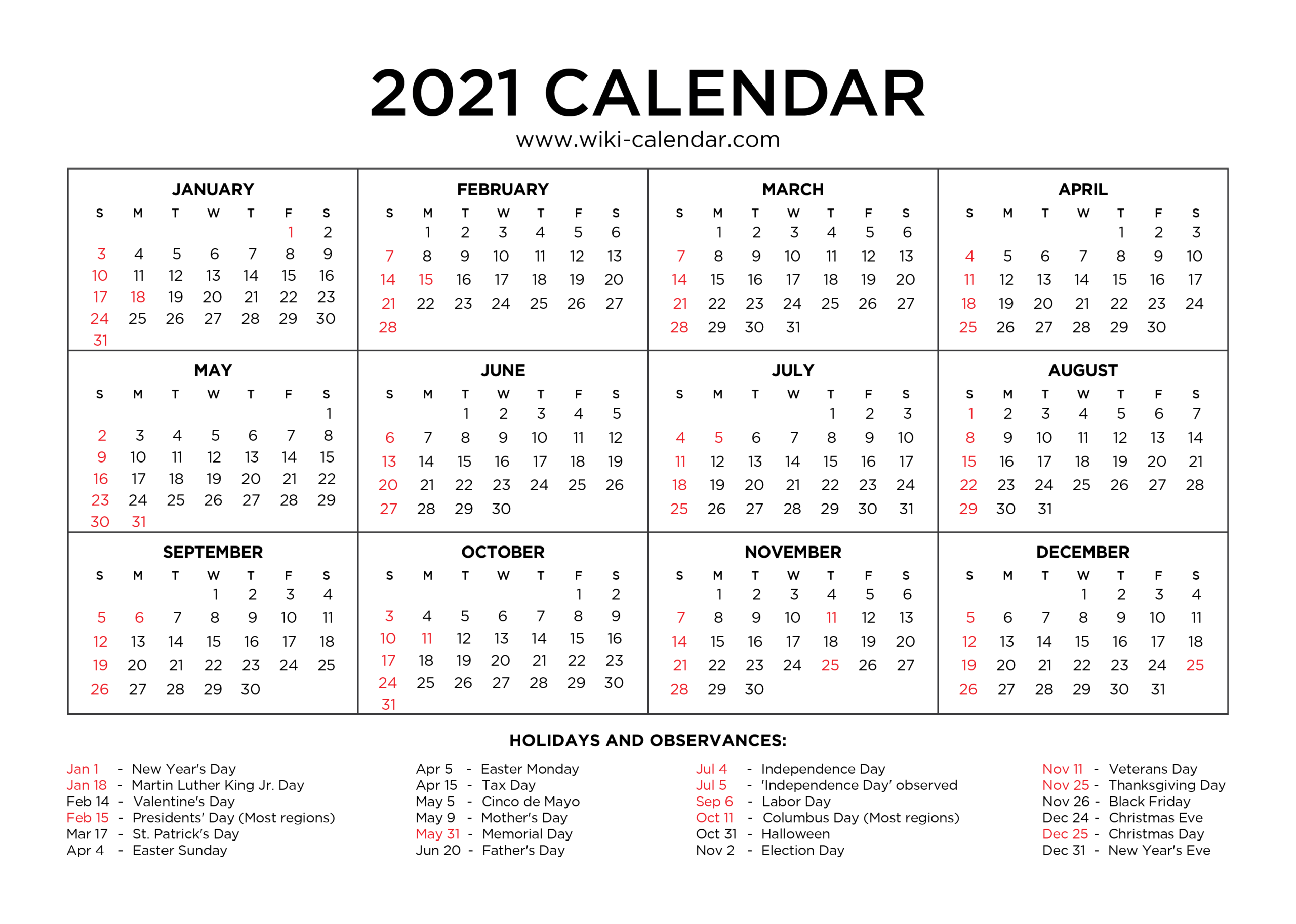 Free Printable Year 2021 Calendar With Holidays