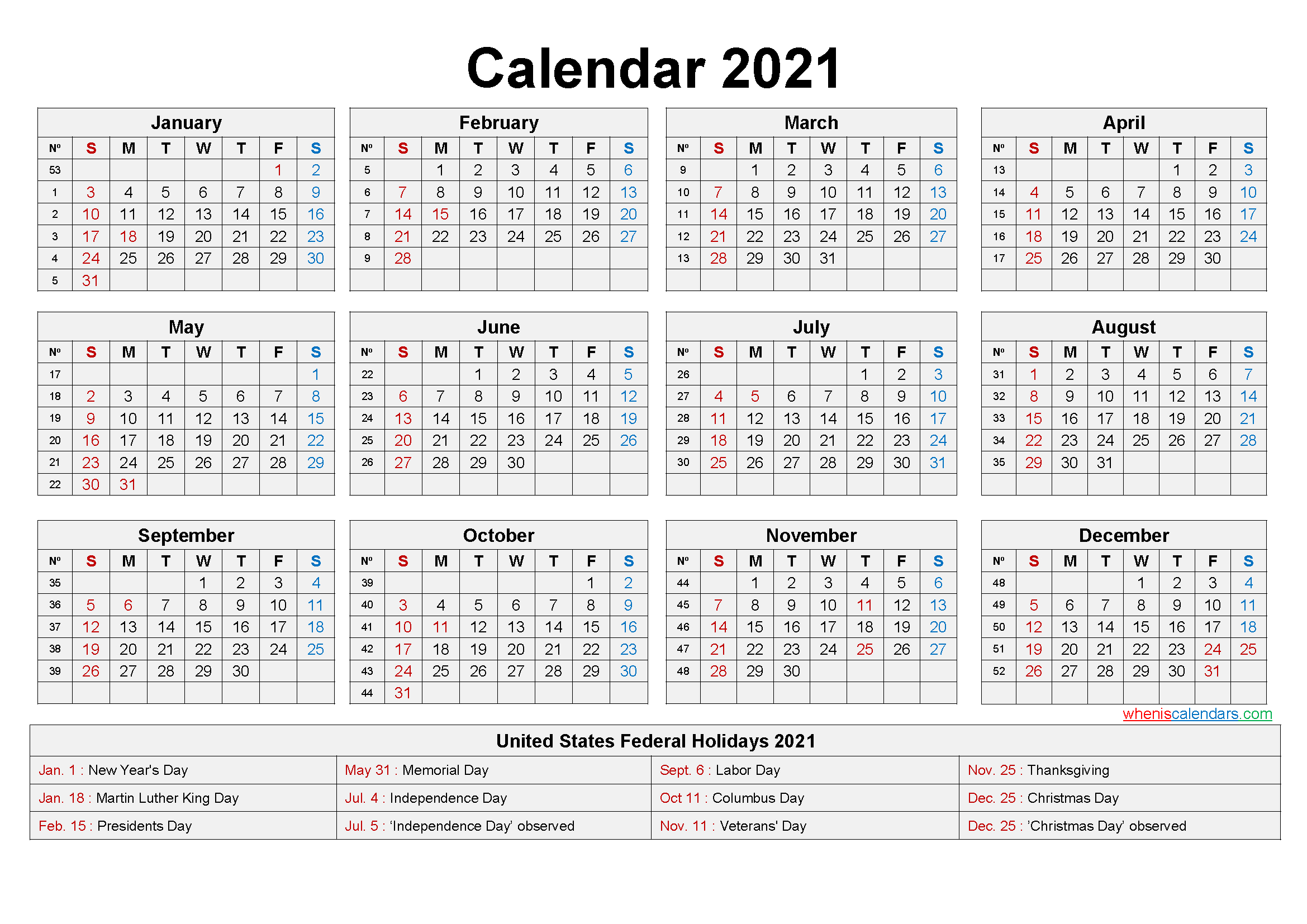 Free Printable Yearly 2021 Calendar With Holidays As Word Pdf