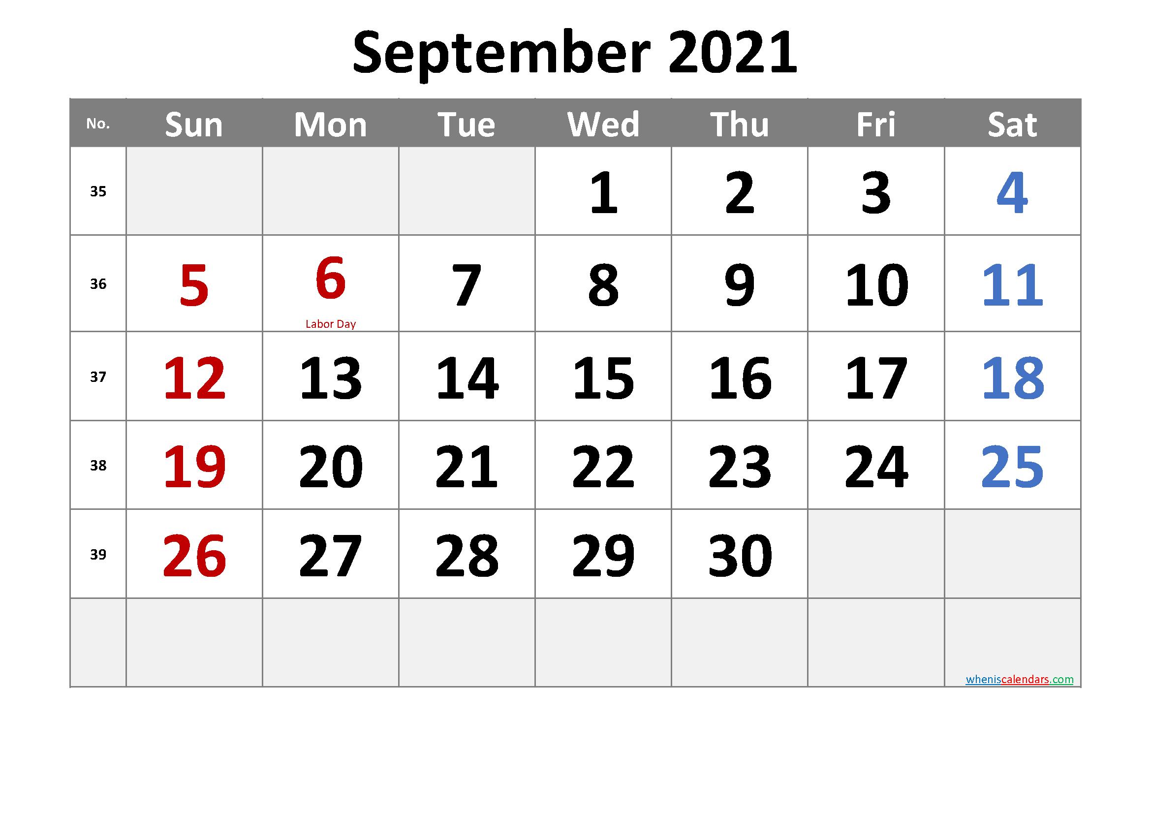 Free September 2021 Monthly Calendar Pdf-Template No.cr21M33
