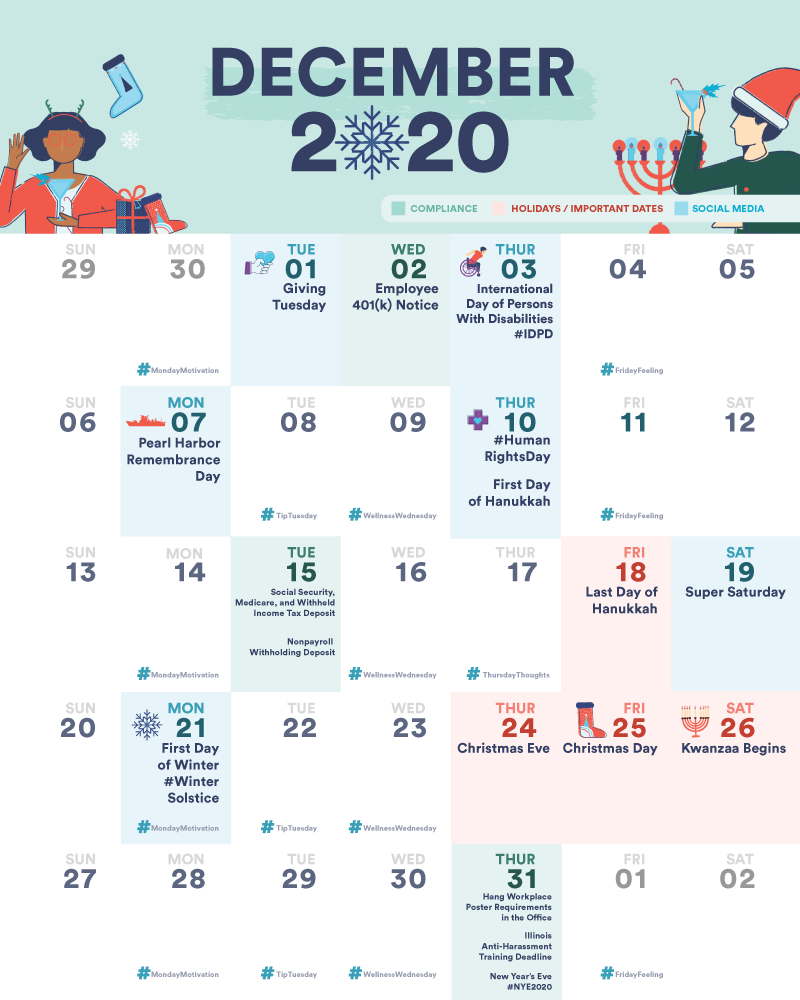 Free Small Business And Hr Compliance Calendar: December