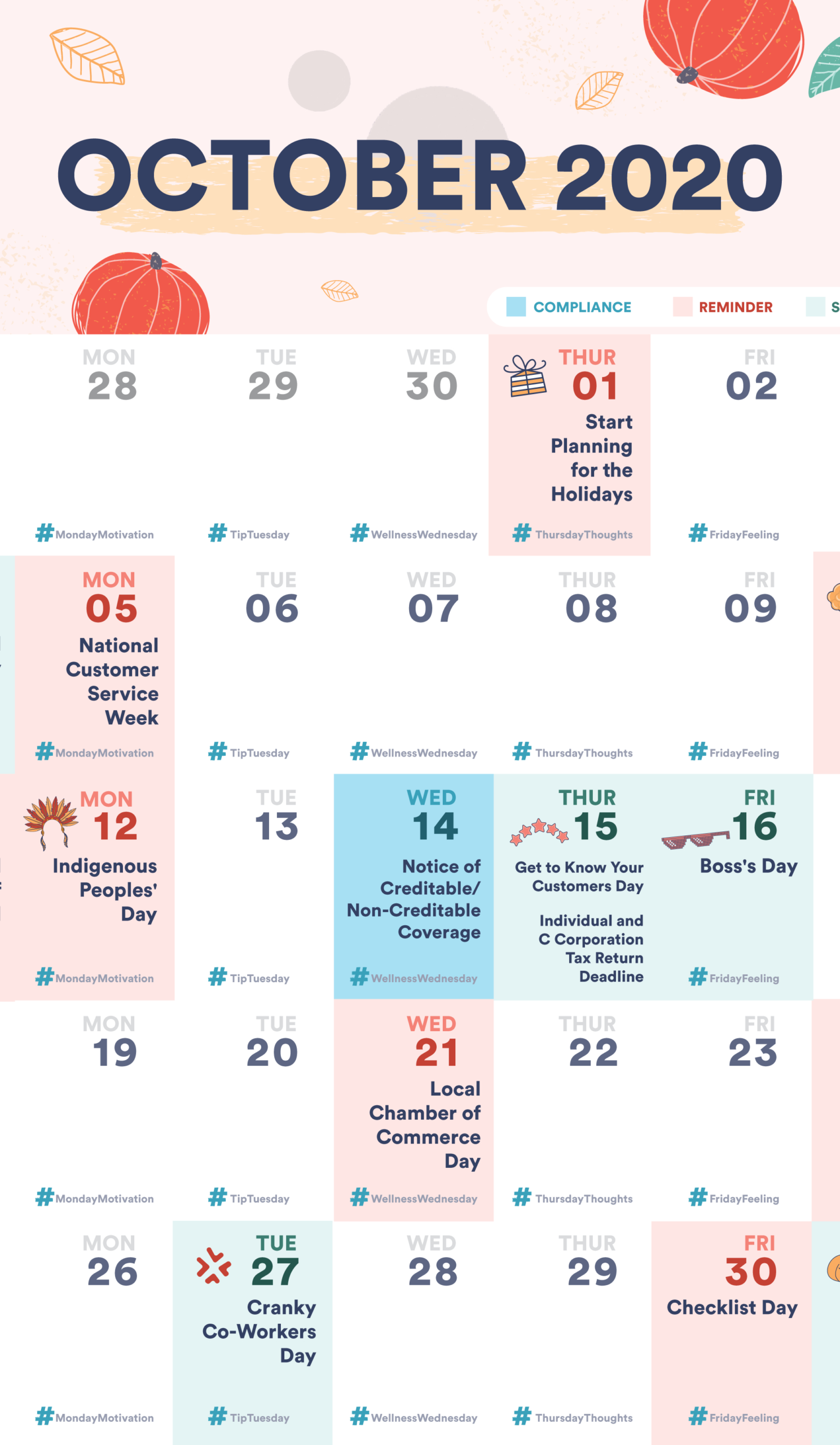 Free Small Business And Hr Compliance Calendar: October 2020