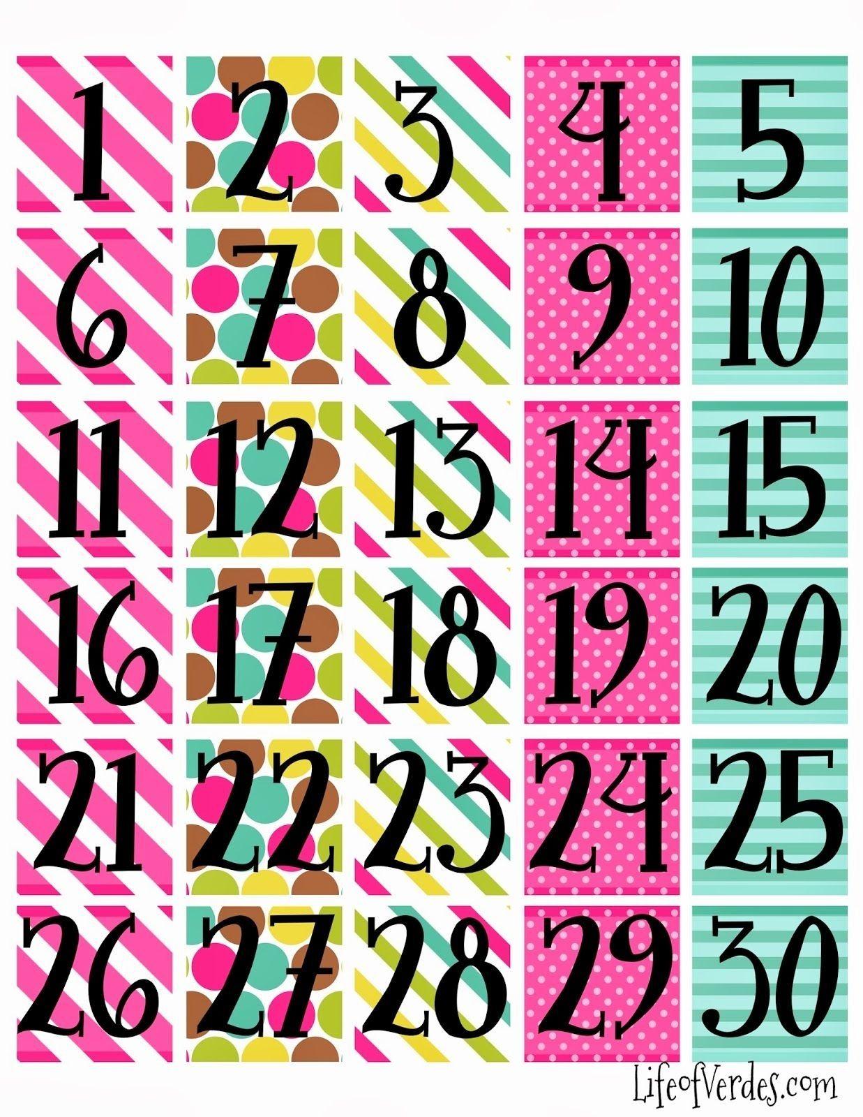 Free+Printable+Calendar+Numbers | Household Info | Calendar