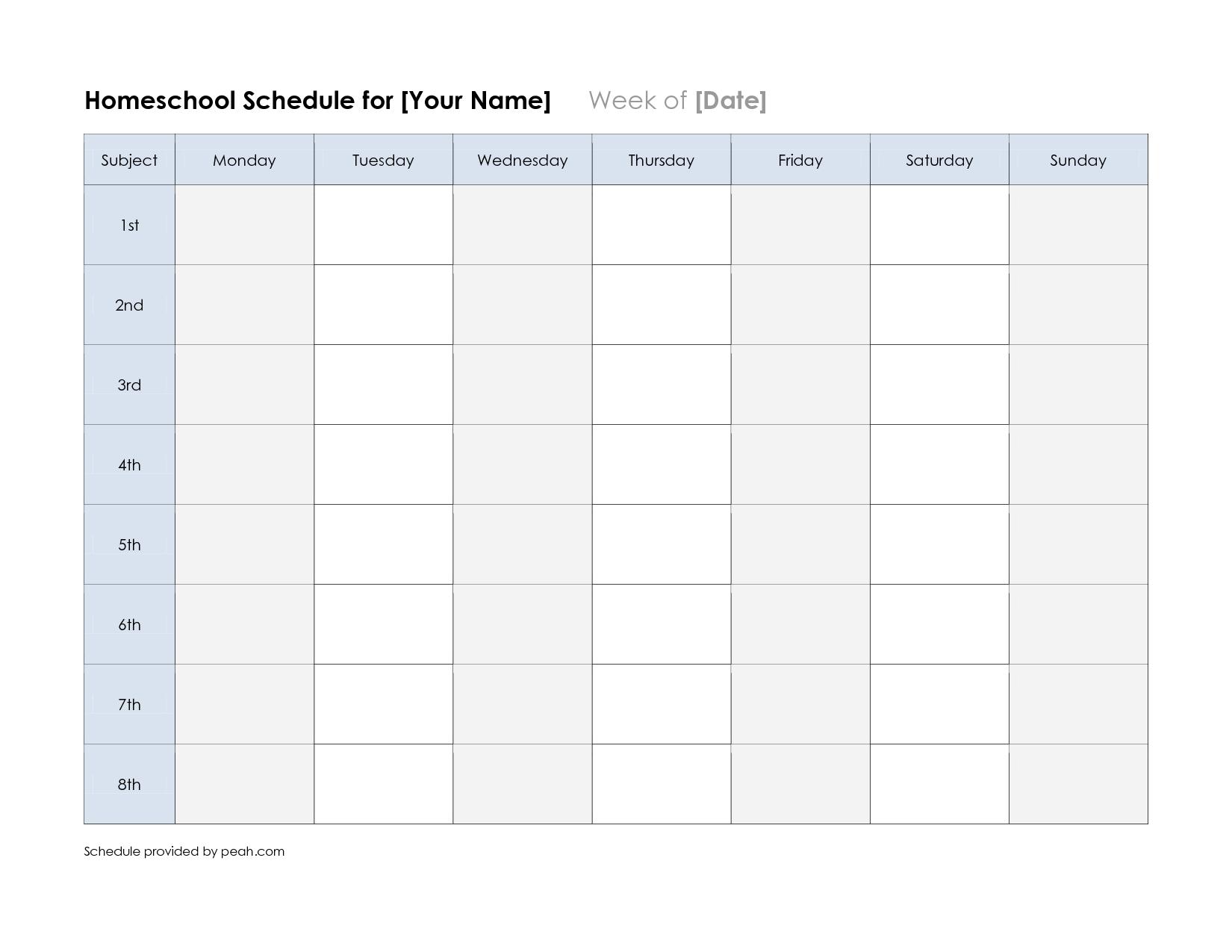 Free+Printable+Weekly+Schedule+Calendar | Calendar Template