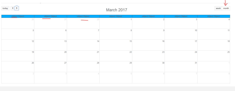 Full Calendar Month  Week View Column Header Is Object