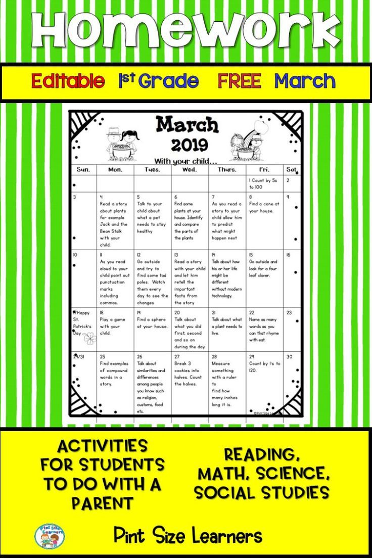 Get This Free Editable March Homework Calendar For Your