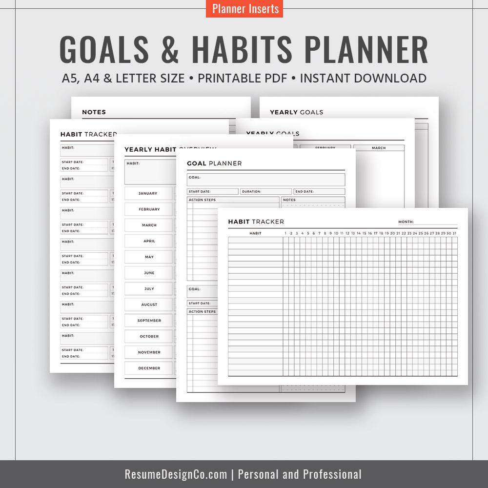 Goals & Habits A4 A5 Letter Size Filofax A5 Best Planner Template  Planner Design Planner Refills Planner Inserts Printable Planner  Instant