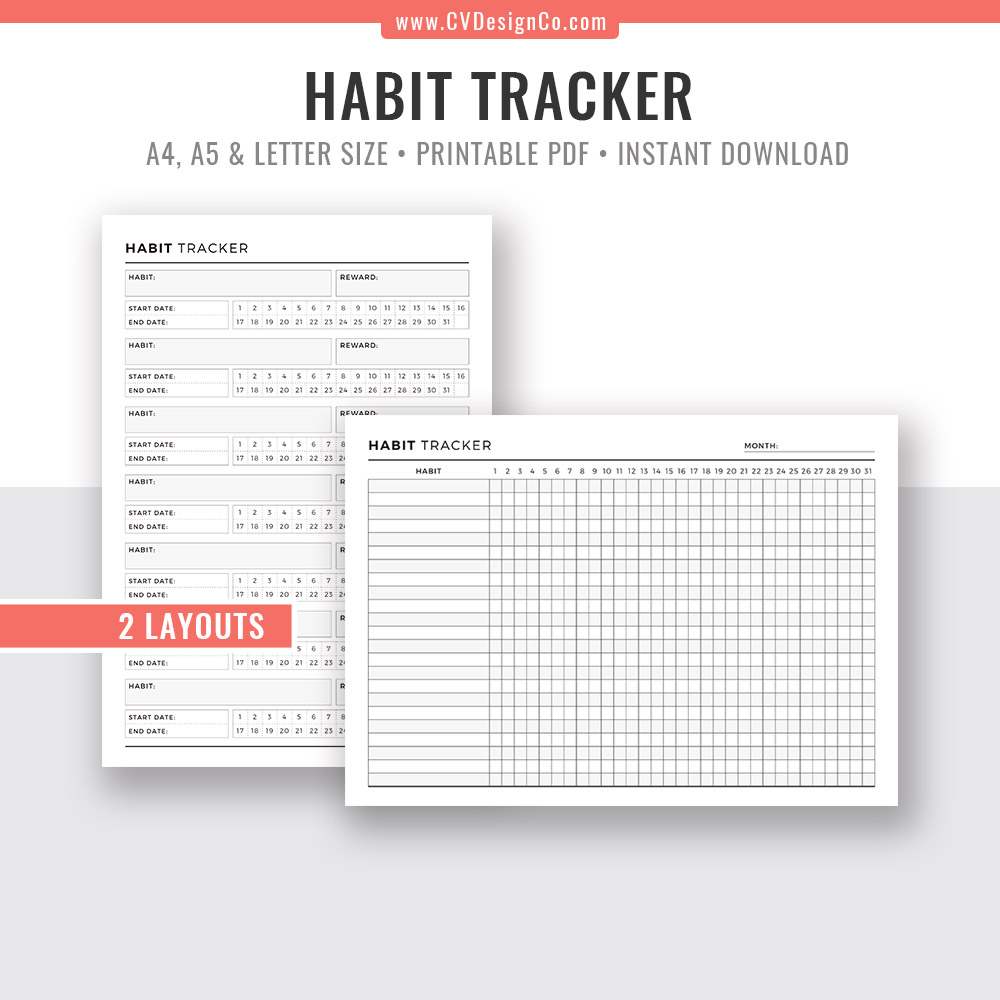 Habit Tracker Monthly Habits Habit Planner Planner Template Printable  Planner Inserts Planner Binder Instant Download Filofax A5 A4 Letter