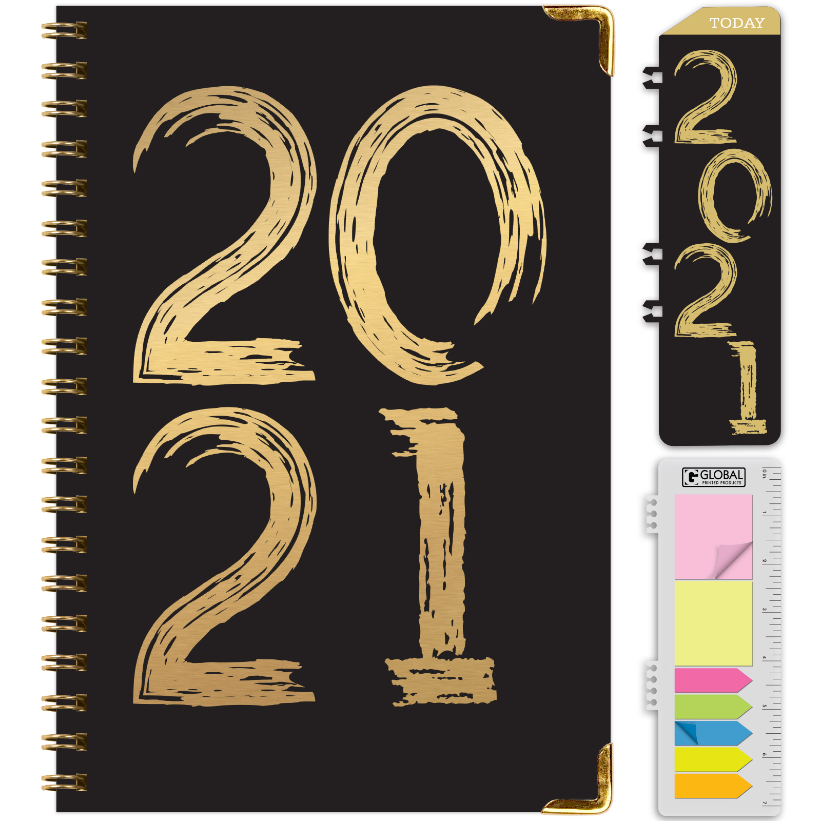 Hardcover 2021 Planner - (Nov 2020 - Dec 2021) Daily Weekly Monthly Planner  Yearly Agenda. Bonus Bookmark Pocket Folder And Sticky Note Set -