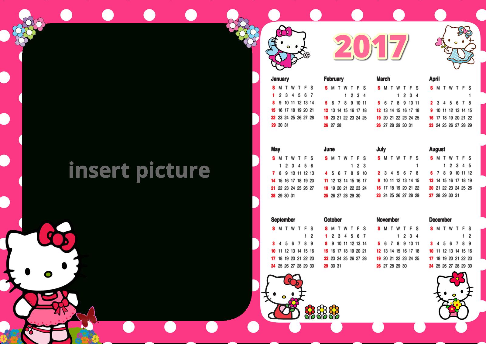 Hello Kitty Calendar 2017 Png Frame - Printable Png Frames