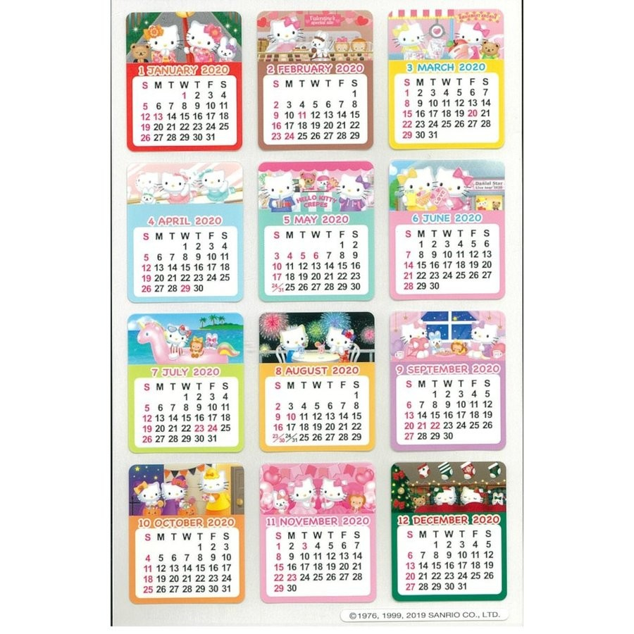 Hello Kitty Sticker Calendar: 2020 - The Kitty Shop