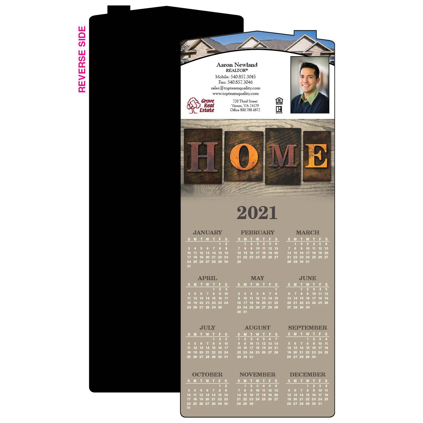 Home Rustic Retreat Year-At-A-Glance Calendar Magnet | House Shape