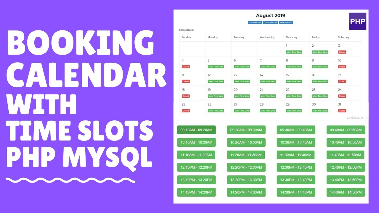 How To Create A Booking Calendar With Time Slots Php Mysql Part 3