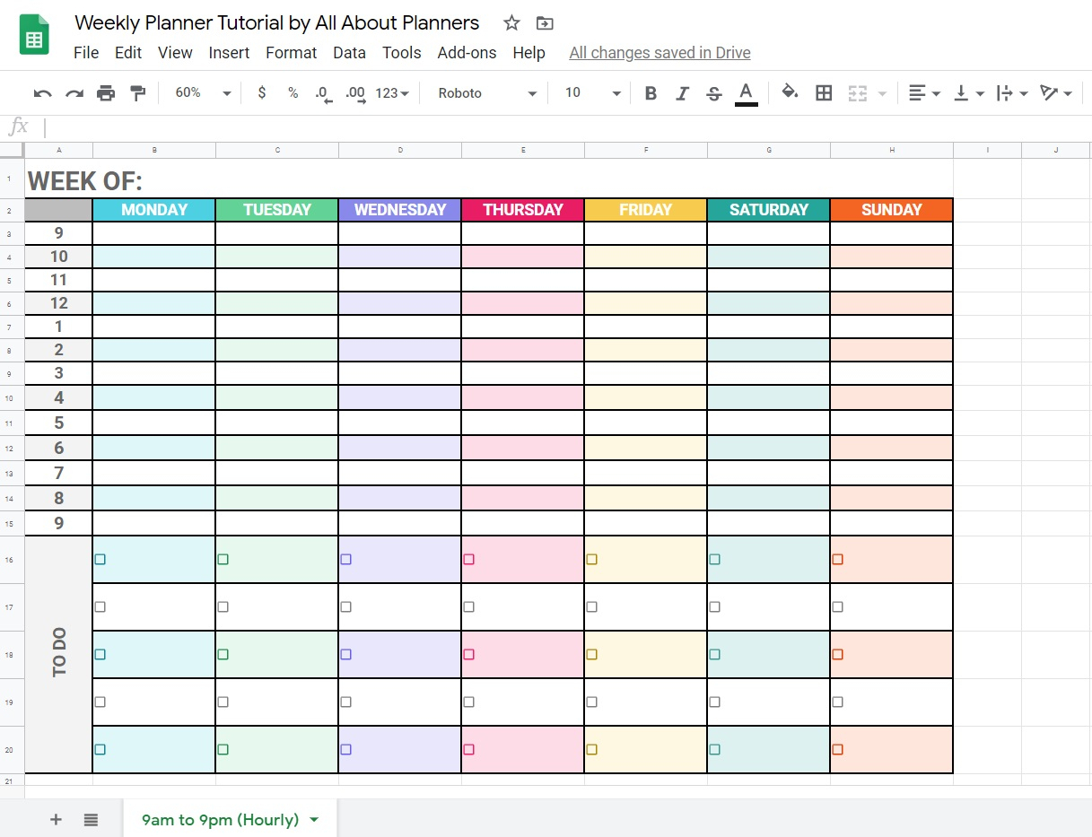 How To Make A Weekly Planner Using Google Sheets (Free