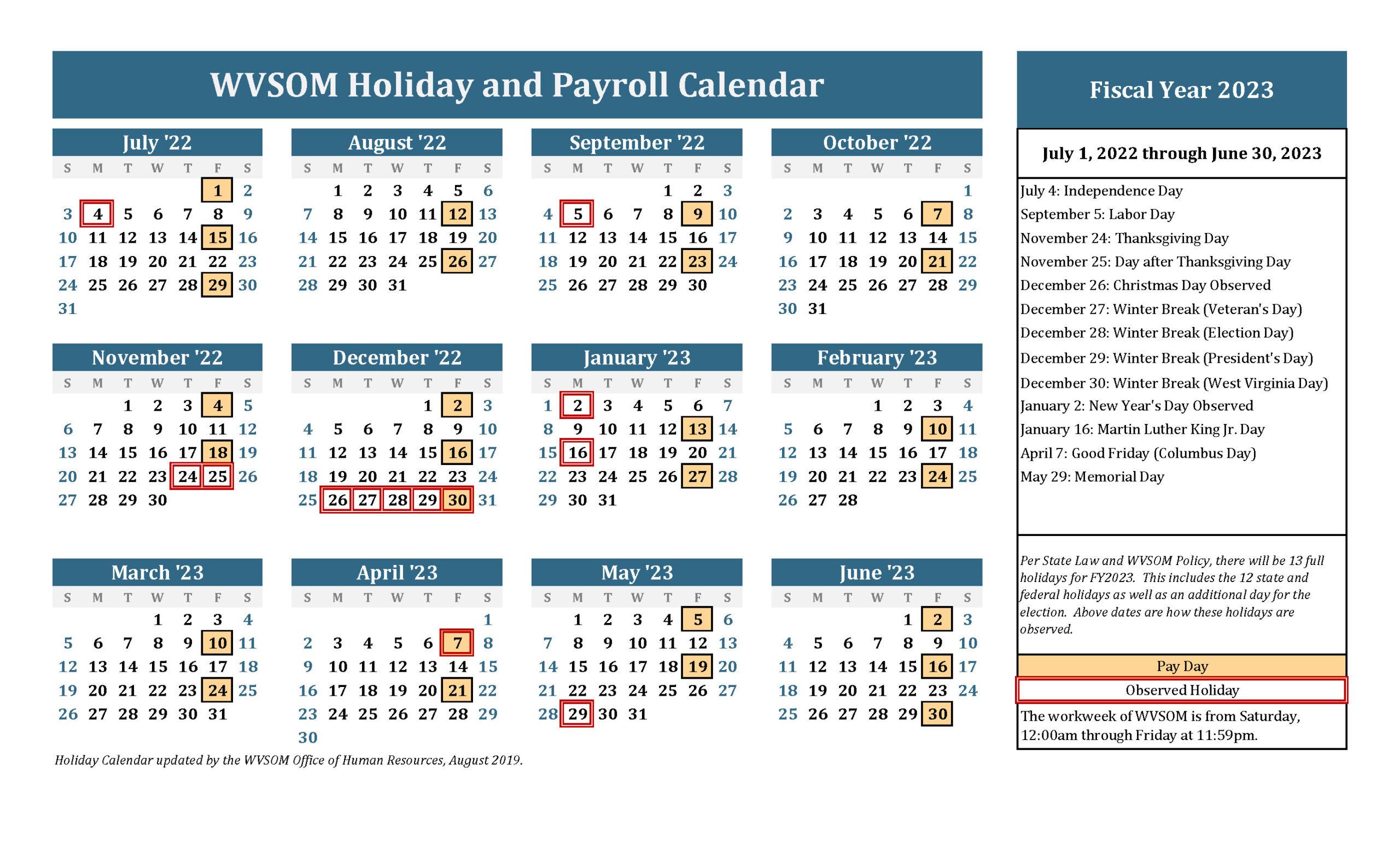 Human Resources - Holiday Calendar | West Virginia School Of