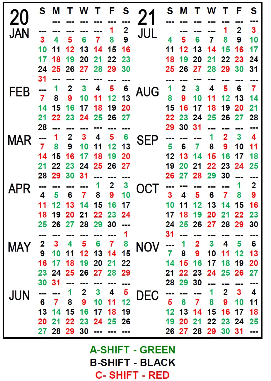 Printable Fire Shift Calendar 2021