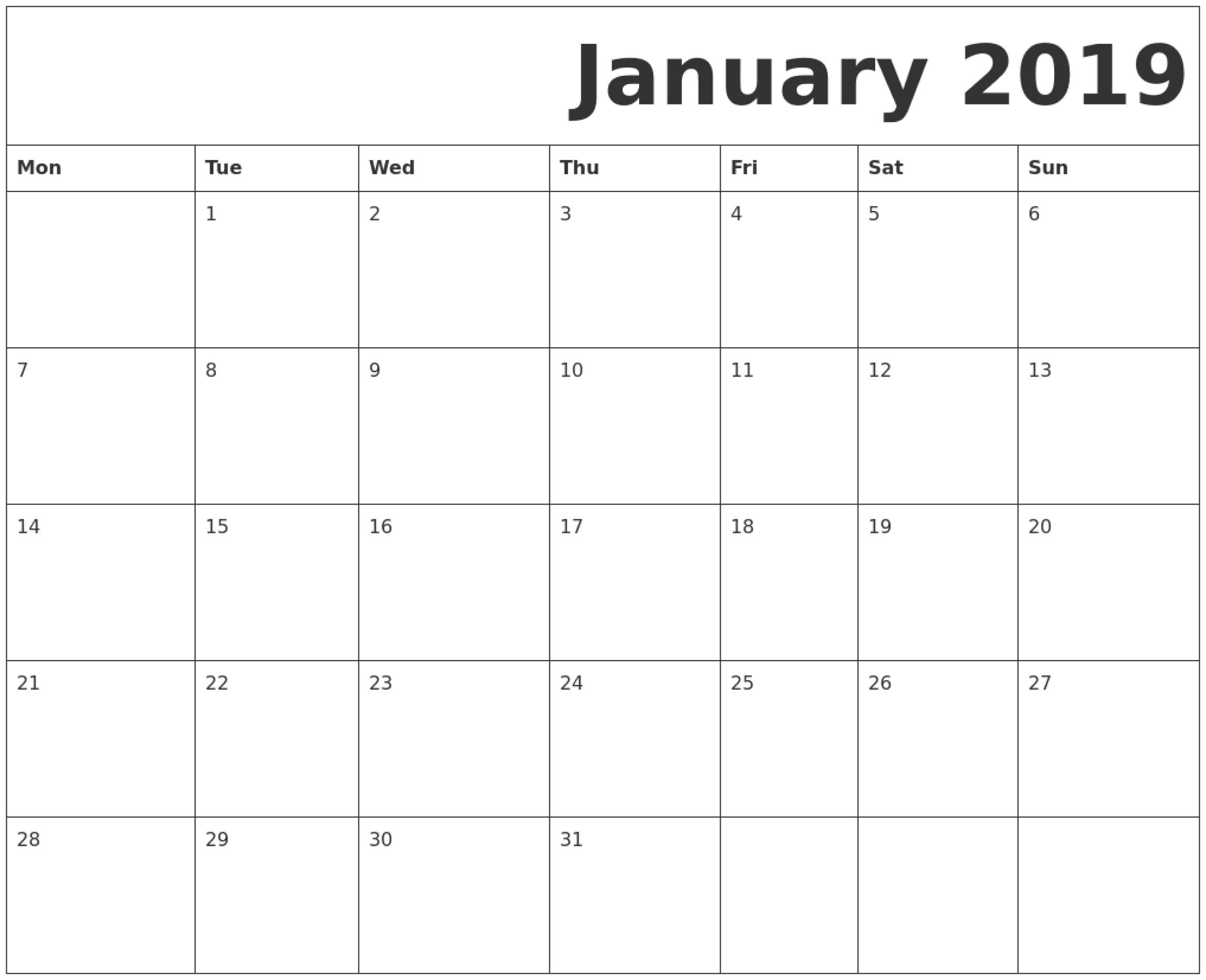 January 2019 Printable Calendar Monday Start | Free