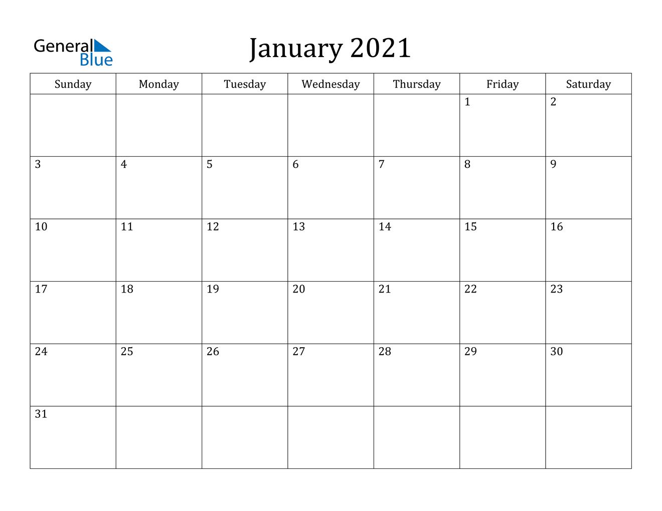 January 2021 Calendar - Pdf Word Excel