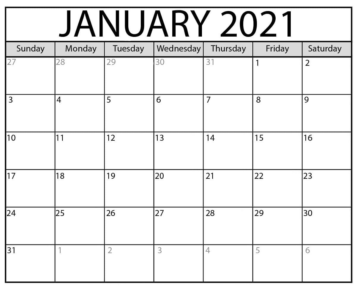January 2021 Calendar Printable With Holidays - Printable