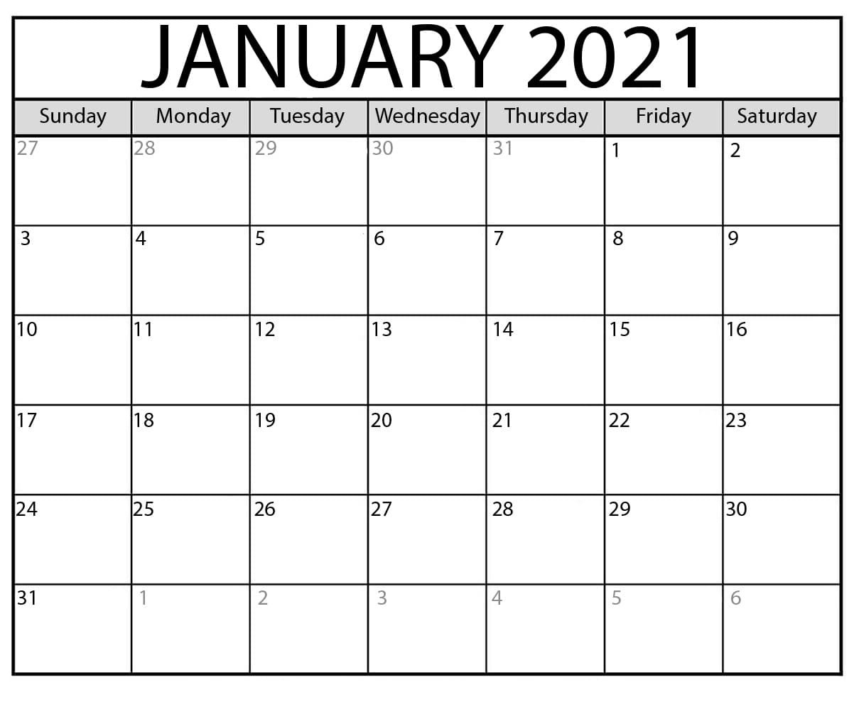 January 2021 Calendar Printable With Holidays - Printable