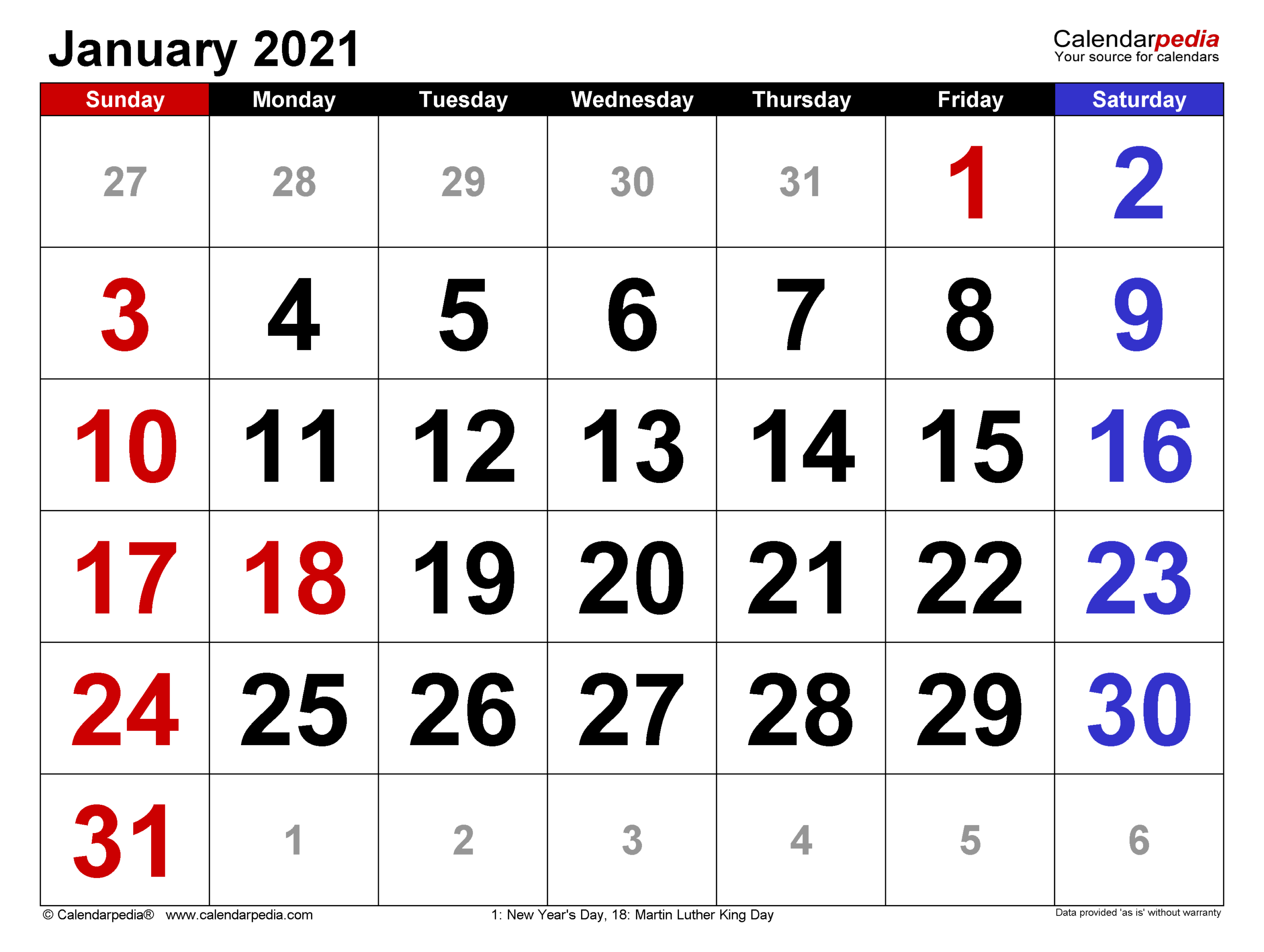 January 2021 Calendar | Templates For Word Excel And Pdf