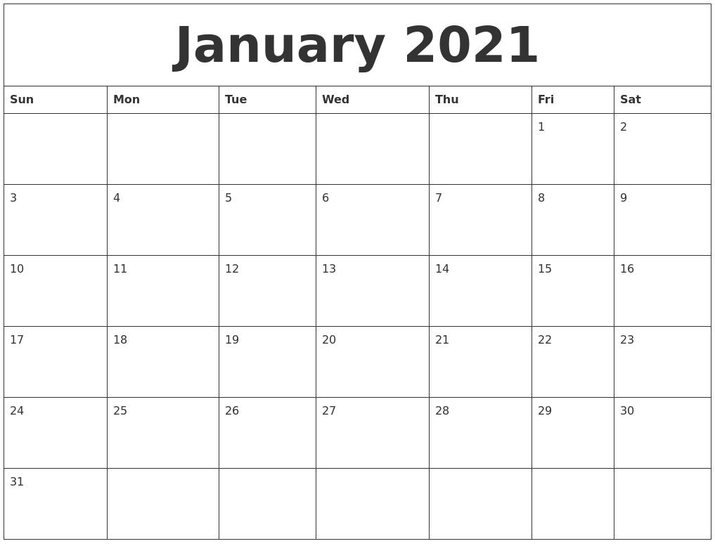 January 2021 Online Calendar Template