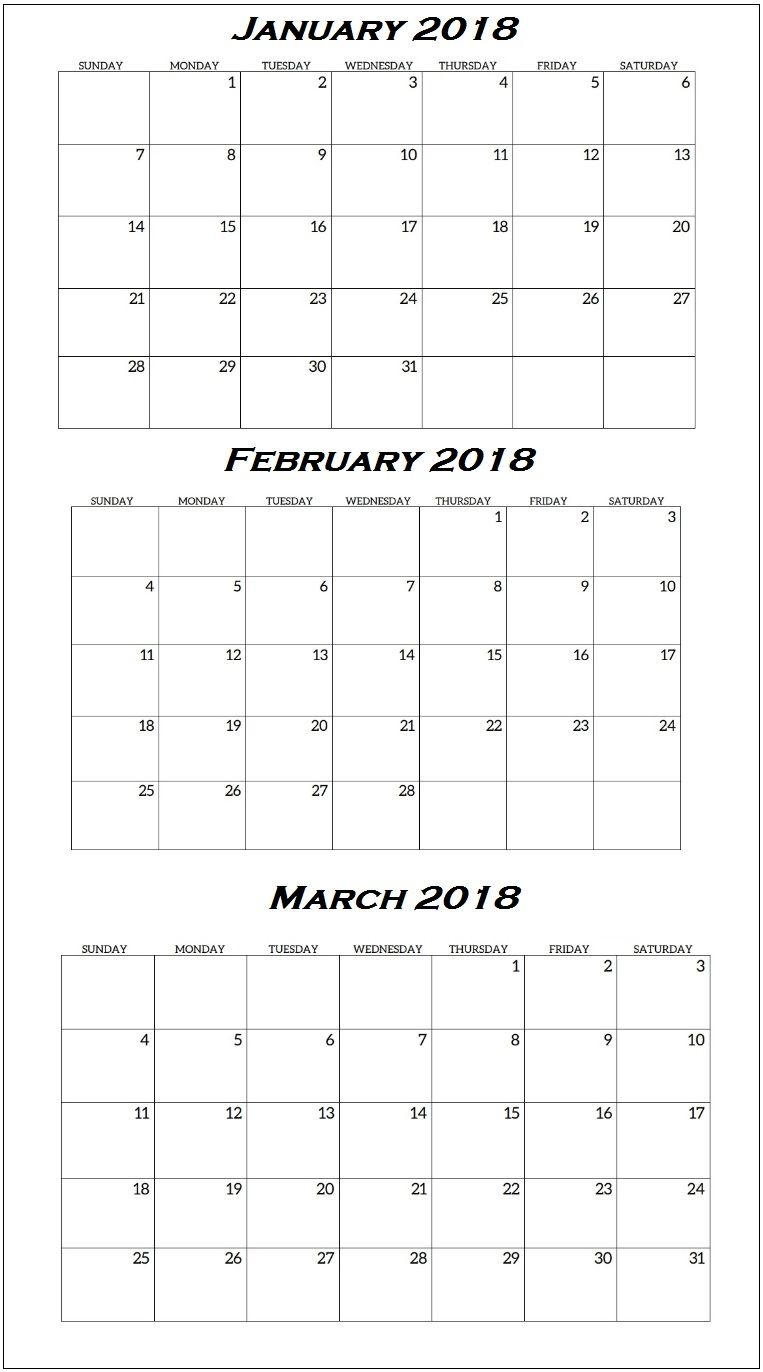 January To March 2018 Quarterly Calendar | Free Calendars To
