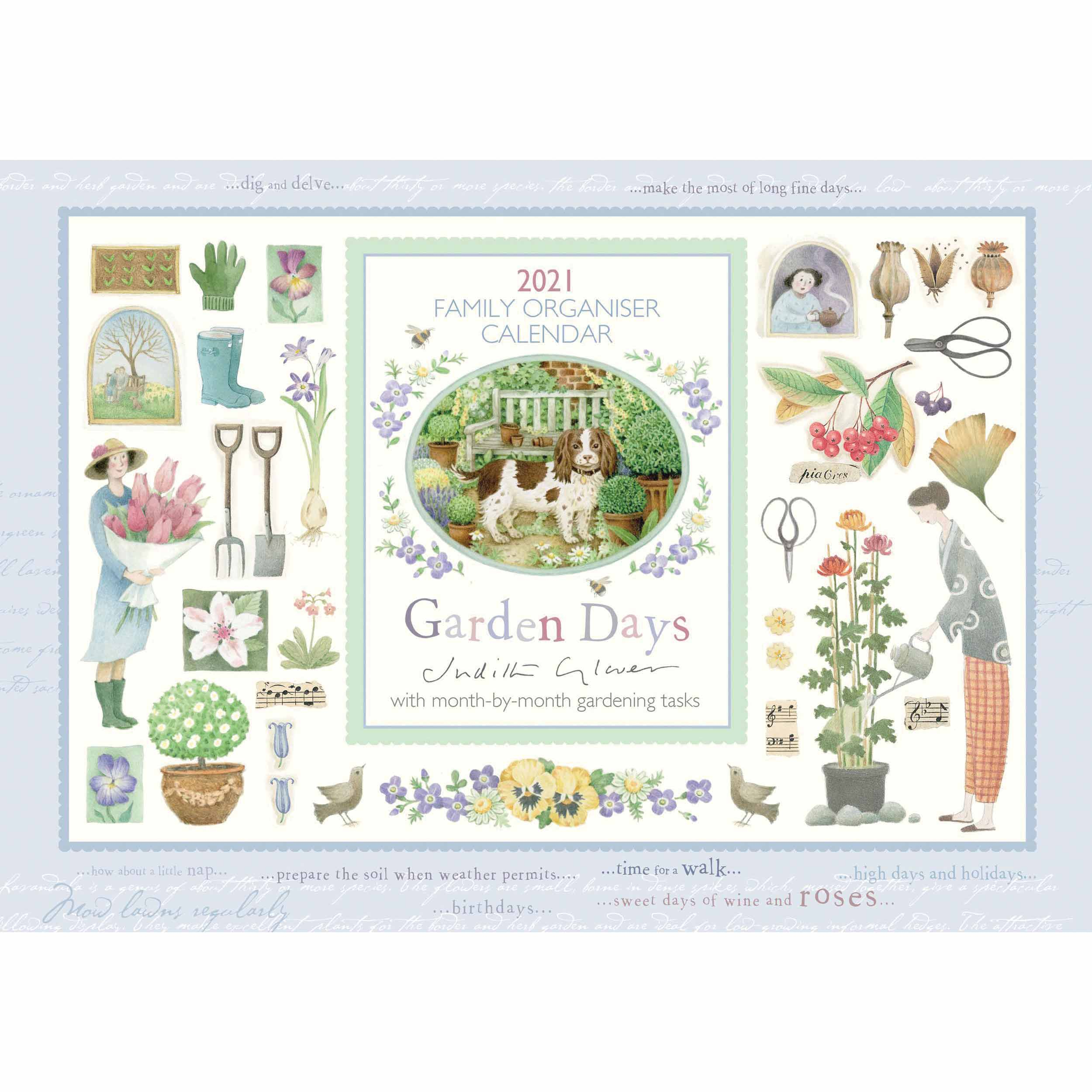 Judith Glover Garden Days A4 Family Planner 2021 At Calendar Club