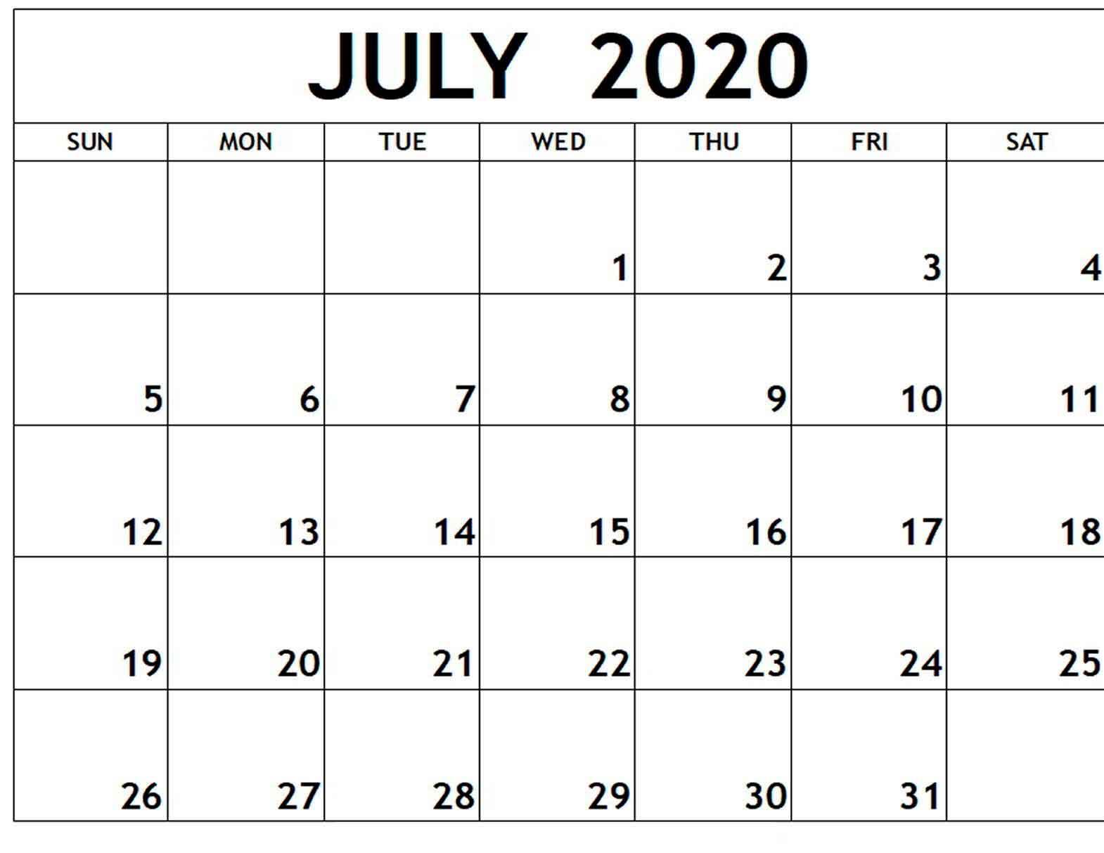 July 2020 Free Printable Calendar Free Latest Calendar