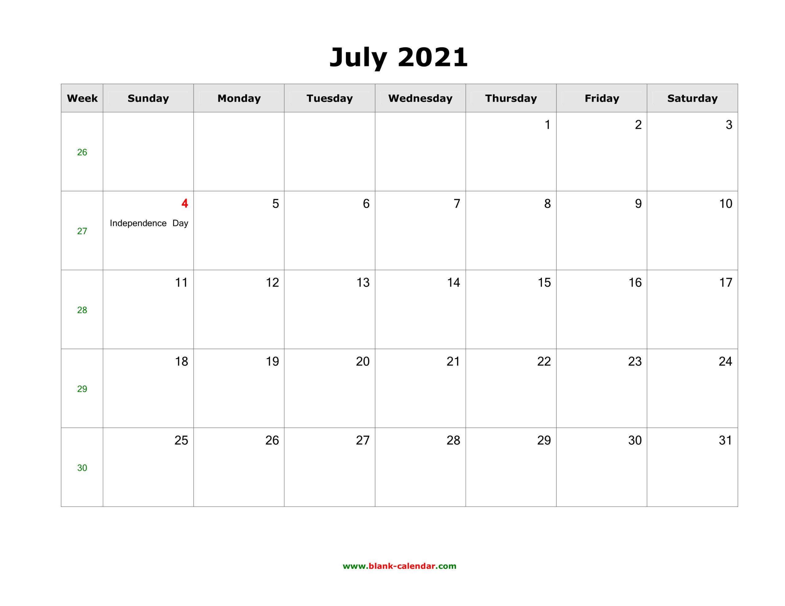 July 2021 Blank Calendar   Free Download Calendar Templates
