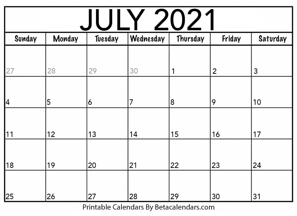 July 2021 Calendar | Blank Printable Monthly Calendars