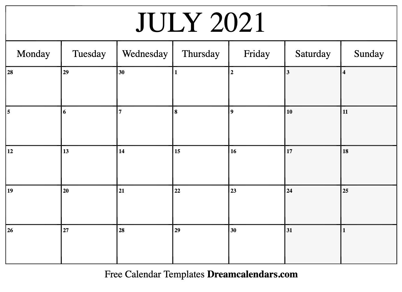 July 2021 Calendar | Free Blank Printable Templates