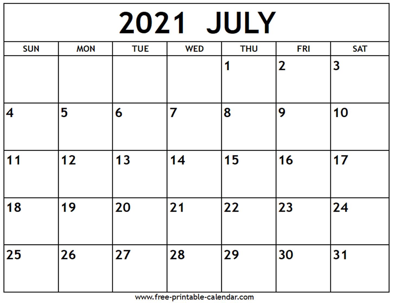 July 2021 Calendar - Free-Printable-Calendar