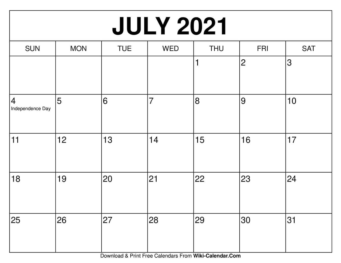 July 2021 Calendar In 2020   Free Calendars To Print Free