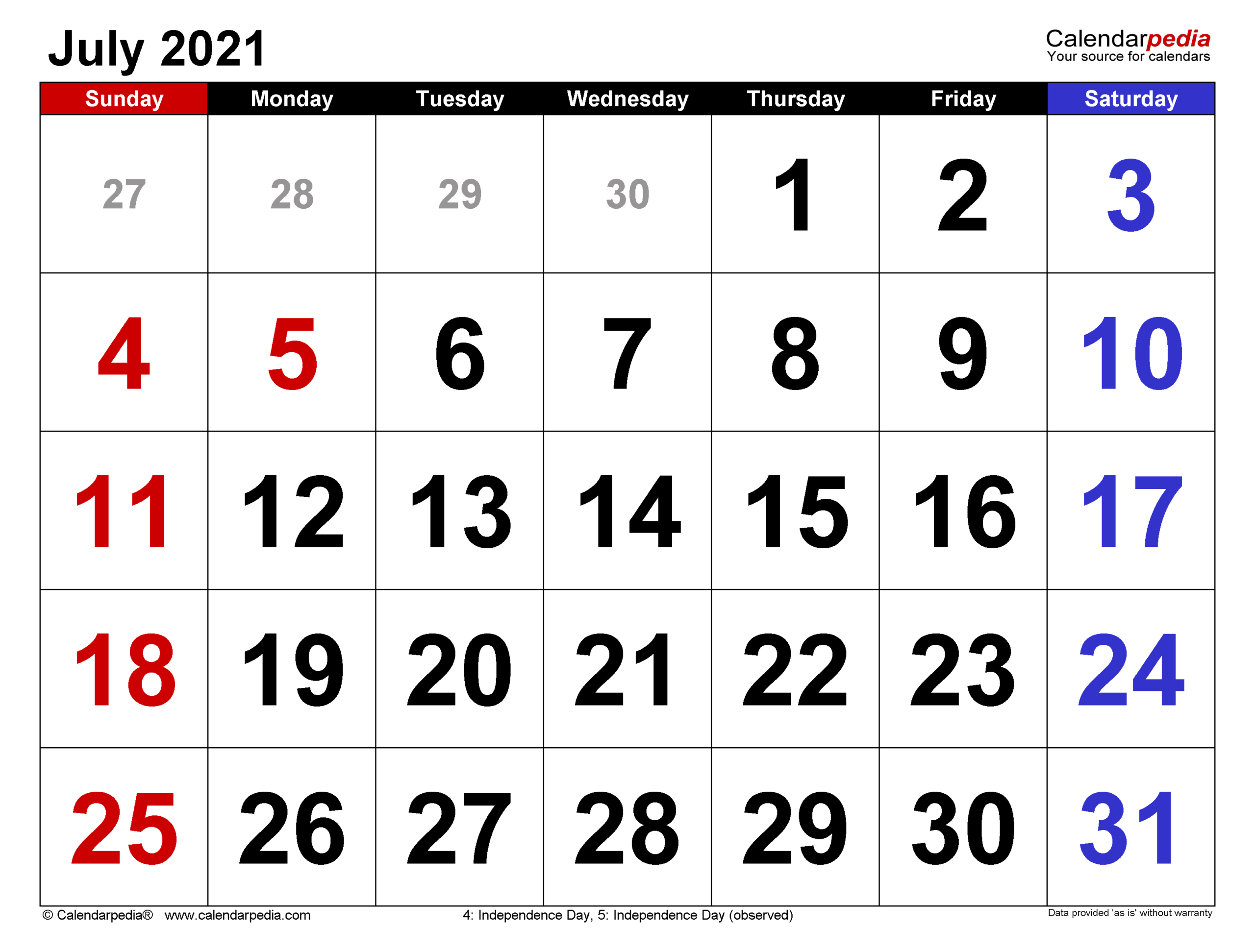 July 2021 Calendar | Templates For Word Excel And Pdf