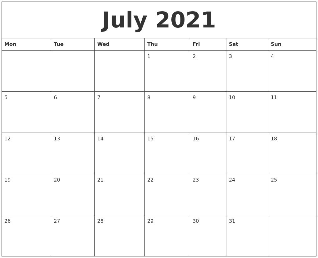 July 2021 Free Printable Calendar Templates