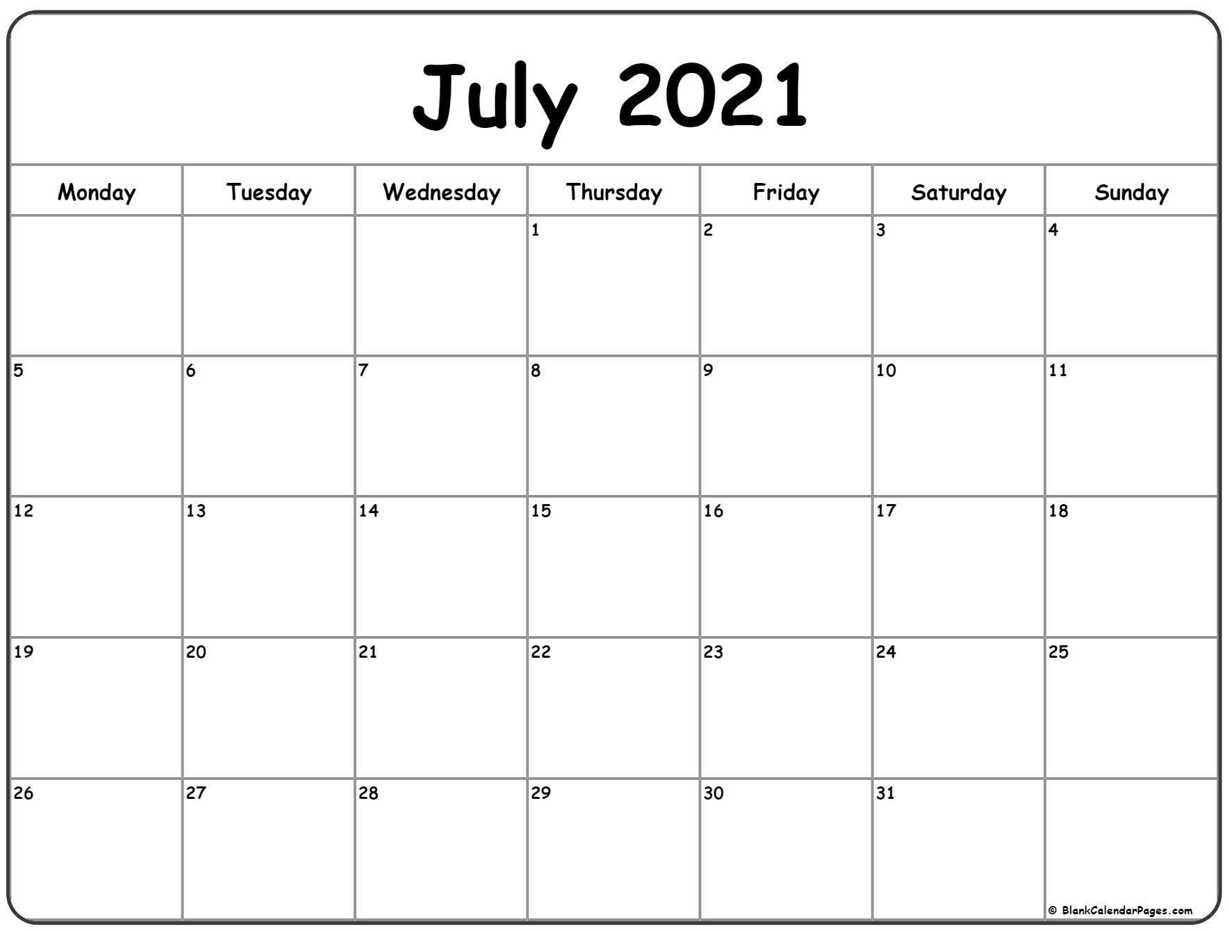 July 2021 Monday Calendar | Monday To Sunday
