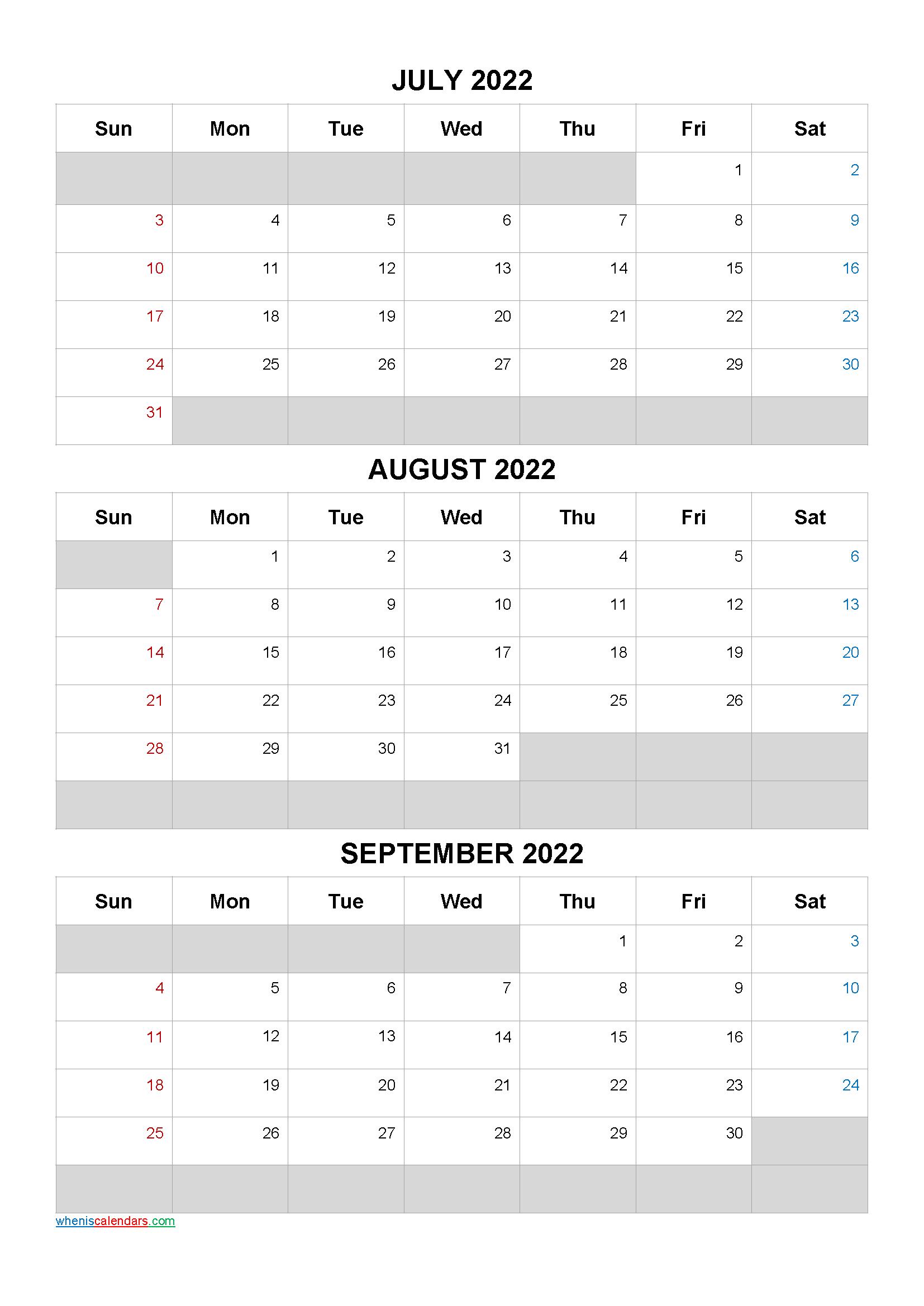 July August September 2022 Calendar Template [Q1-Q2-Q3-Q4
