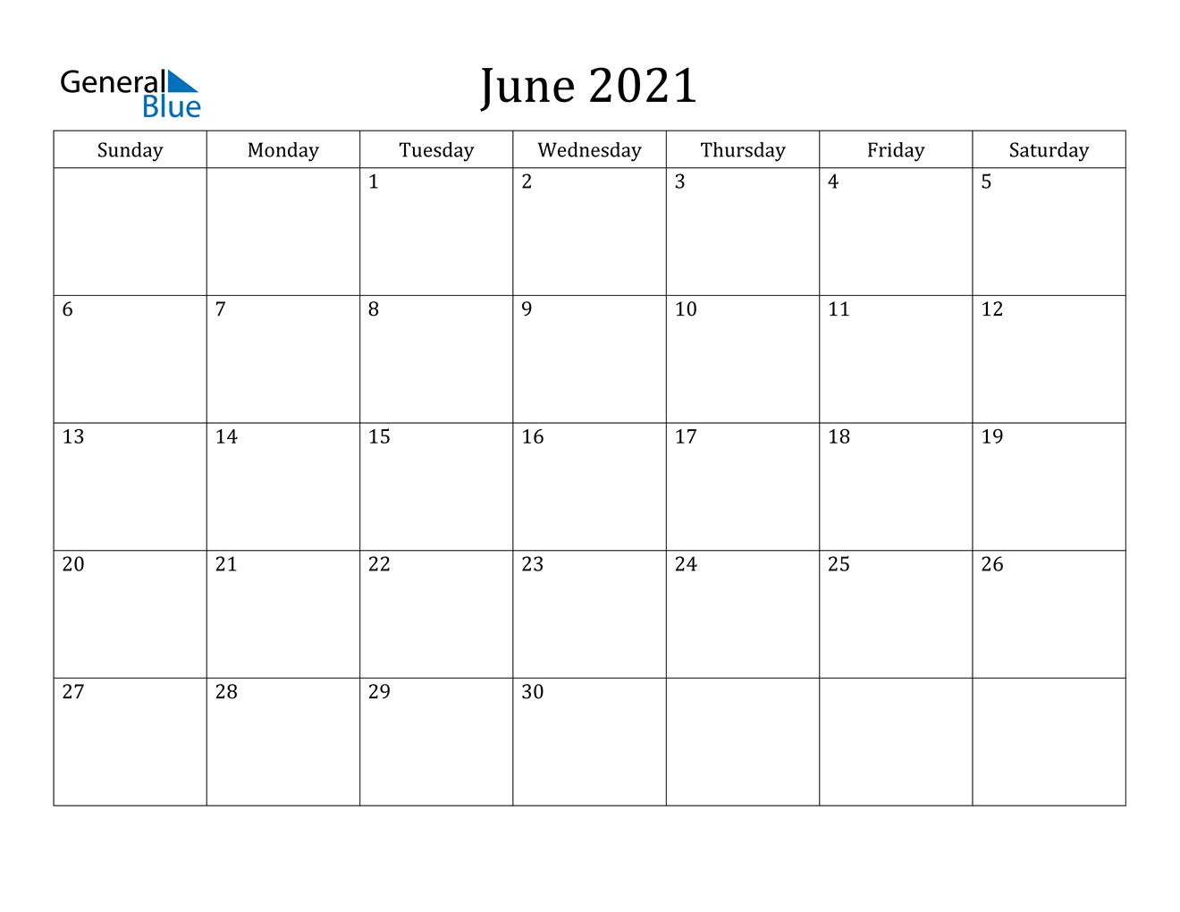 June 2021 Calendar - Pdf Word Excel