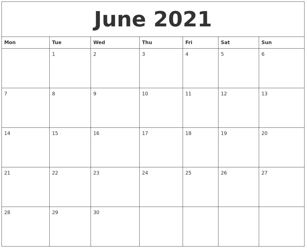 June 2021 Free Online Calendar