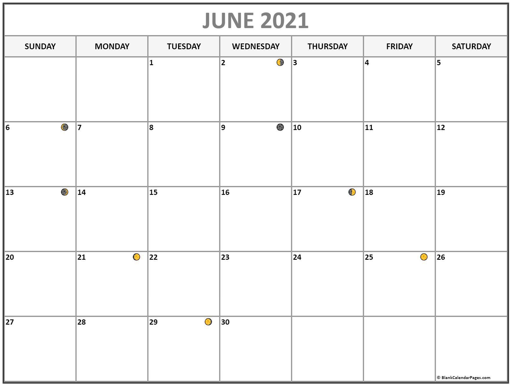 June 2021 Lunar Calendar | Moon Phase Calendar