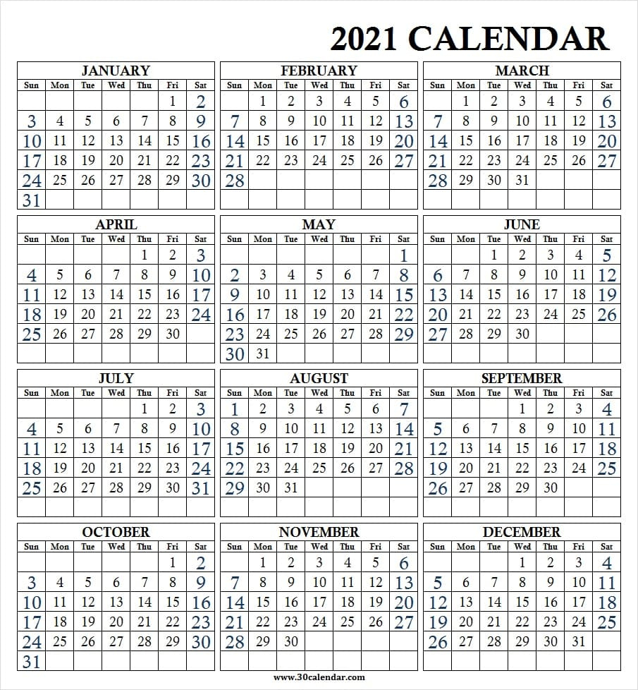 Large Print Wall Calendar 2021 - Calendar 2021 Year Printable
