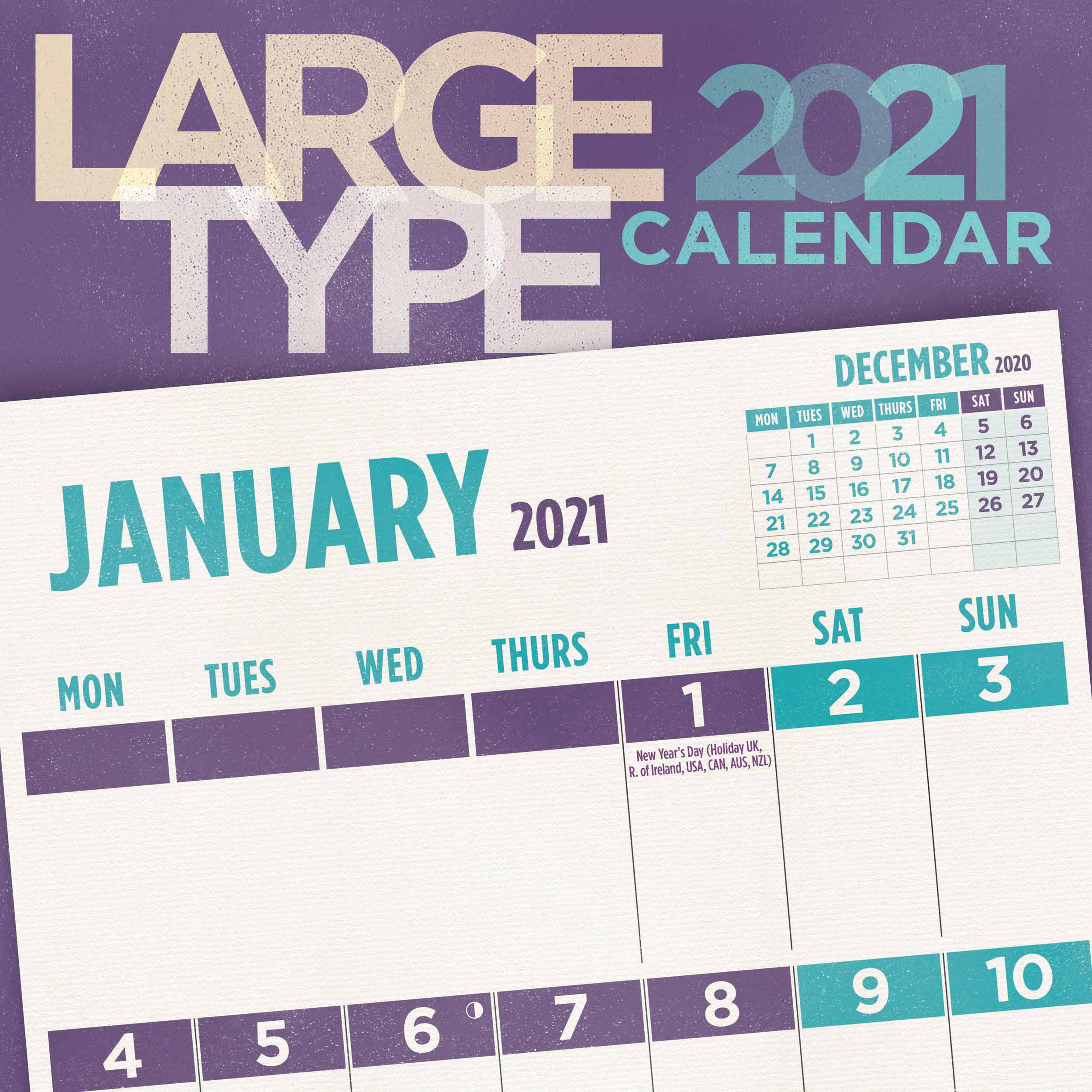 Large Type Calendar 2021 At Calendar Club