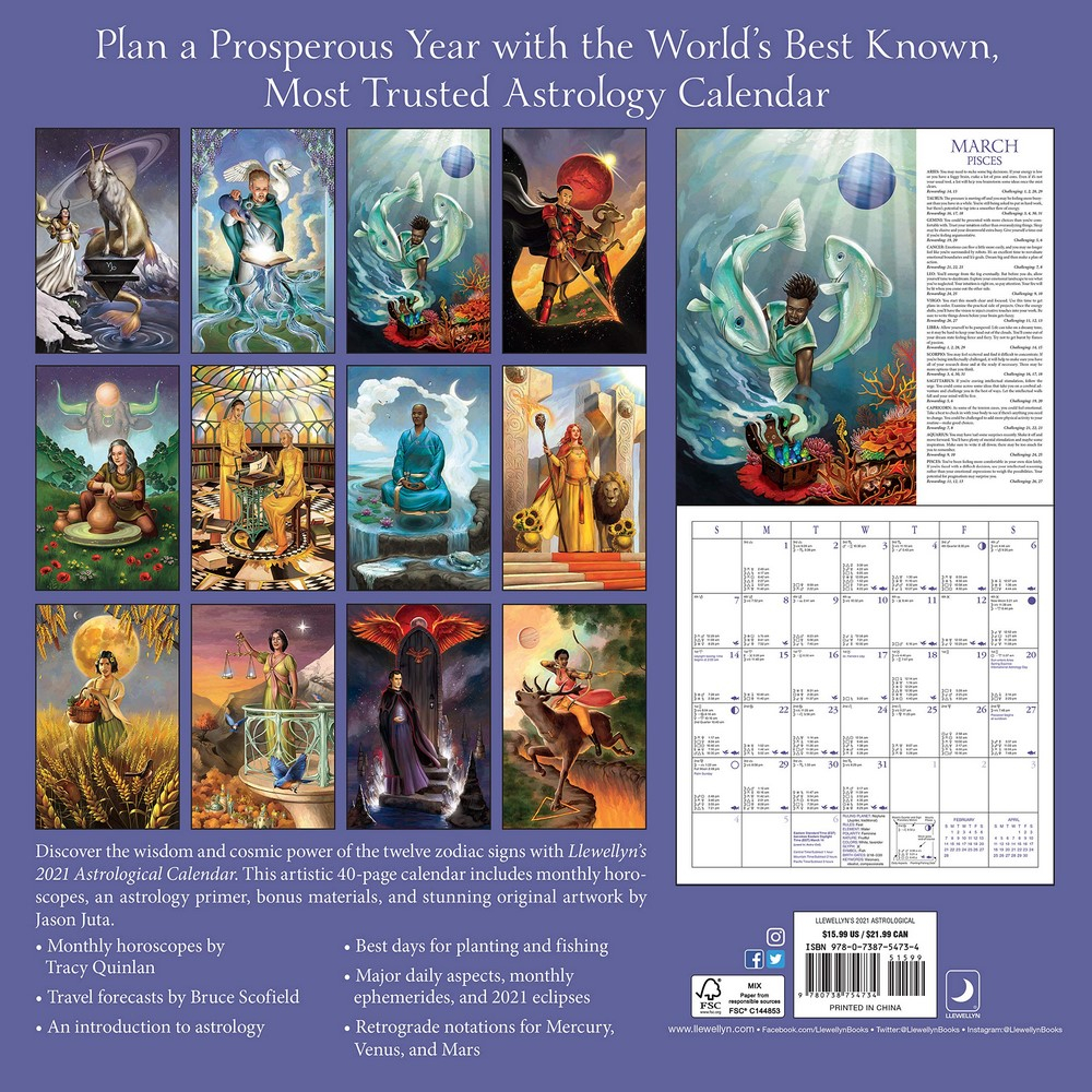 Llewellyn'S Astrological - 2021 Wall Calendar 88Th Edition